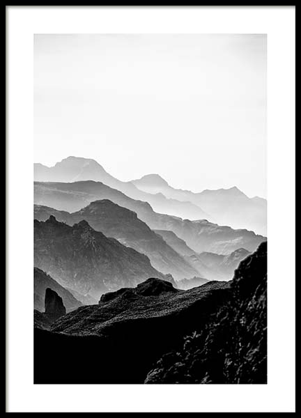 Black Rocky Mountains Poster in the group Posters & Prints / Black & white at Desenio AB (3302)