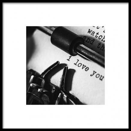 I Love You Typewriter Poster in the group Posters & Prints / Black & white at Desenio AB (3334)