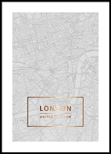 London Gold Poster in the group Posters & Prints / Maps & cities at Desenio AB (3351)
