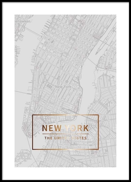New York Gold Poster in the group Posters & Prints / Maps & cities at Desenio AB (3352)