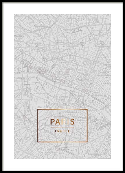 Paris Gold Poster in the group Posters & Prints / Maps & cities at Desenio AB (3353)