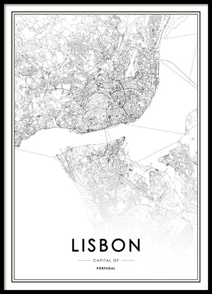 Lisbon Map Poster in the group Posters & Prints / Maps & cities at Desenio AB (3354)