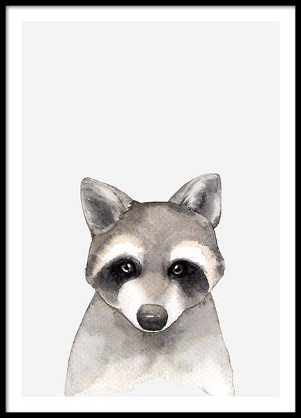 Aquarelle Raccoon Poster in the group Posters & Prints / Kids posters at Desenio AB (3367)