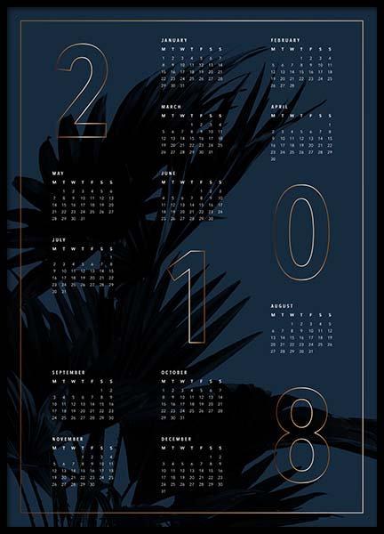 Calendar 2018 Blue Poster