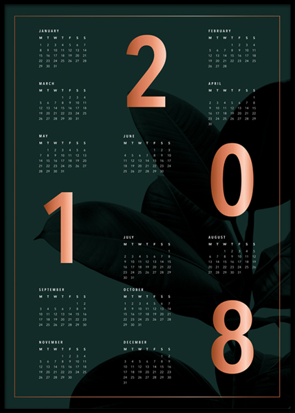 Calendar 2018 Green Poster in the group Posters & Prints / Calendars 2018 at Desenio AB (3412)