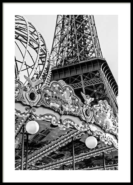 Carousel Et Eiffel Poster in the group Posters & Prints / Black & white at Desenio AB (3428)