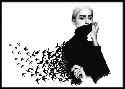 Maria And The Birds Poster in the group Posters & Prints / Black & white at Desenio AB (3452)