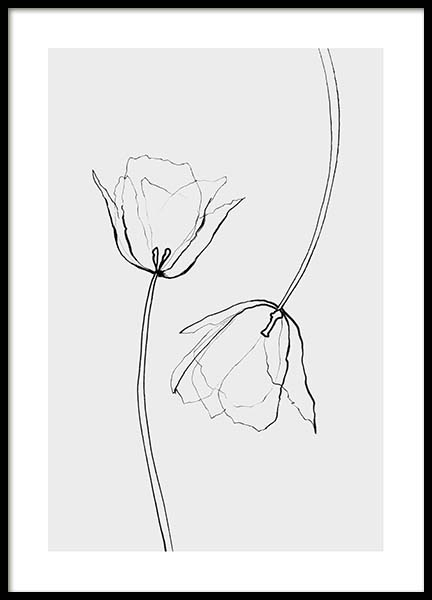 Line Tulips Poster in the group Posters & Prints / Black & white at Desenio AB (3601)