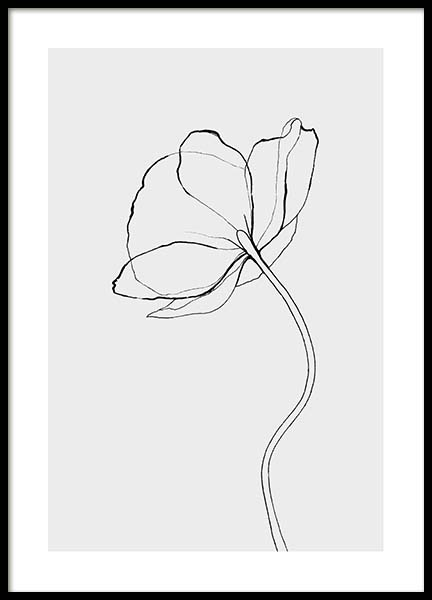 Line Poppy Poster in the group Posters & Prints / Black & white at Desenio AB (3602)