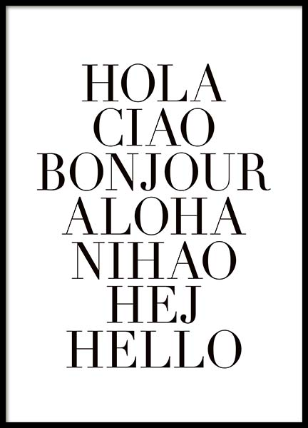 How To Say Hello Poster in the group Posters & Prints / Typography & quotes at Desenio AB (3612)