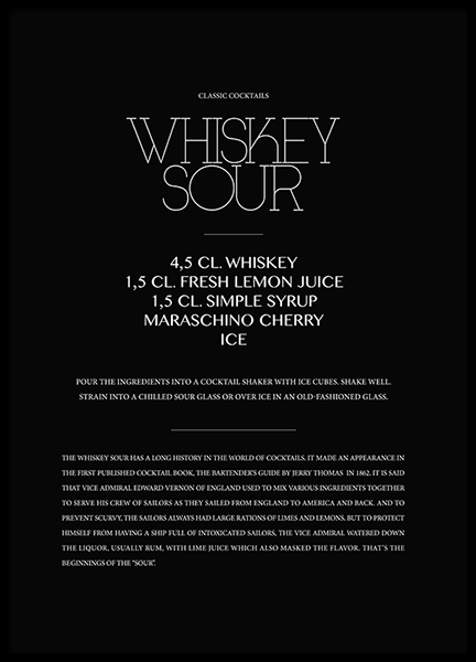 Classic Whiskey Sour Poster in the group Posters & Prints / Typography & quotes at Desenio AB (3624)