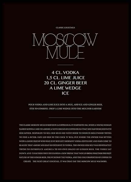 Classic Moscow Mule Poster in the group Posters & Prints / Text posters at Desenio AB (3626)