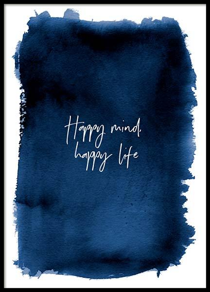 Happy Mind Poster in the group Posters & Prints / Typography & quotes at Desenio AB (3666)