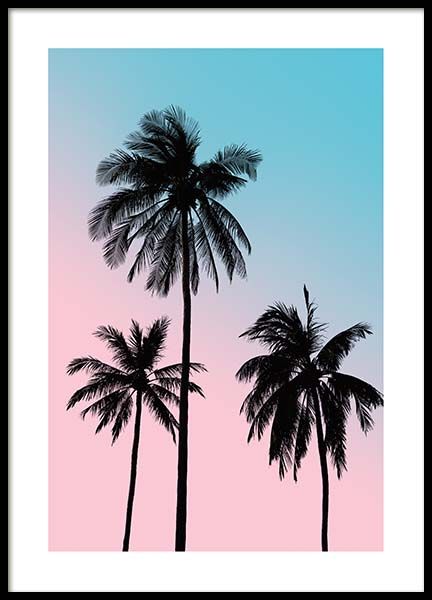 Pink Palm Sky Poster in the group Posters & Prints / Botanical / Palms at Desenio AB (3781)