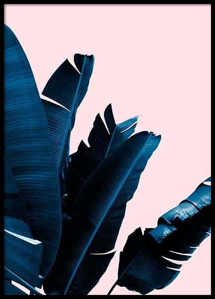 Blue Leaves On Pink No5 Poster