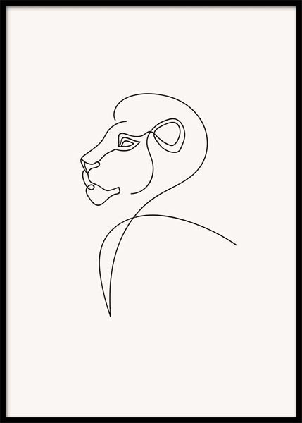 Lion Lines Poster in the group Posters & Prints / Art prints at Desenio AB (3912)