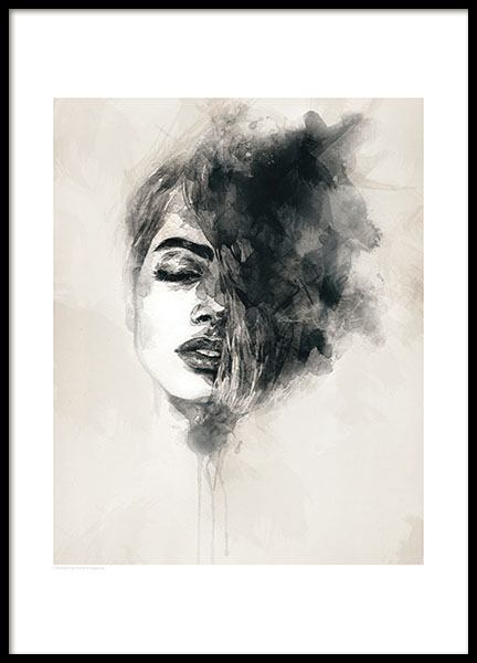 Posters and print with aquarelle, stylish print with a woman
