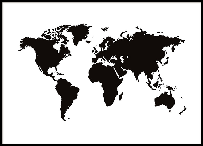 world map poster black and white posters with maps. Black Bedroom Furniture Sets. Home Design Ideas
