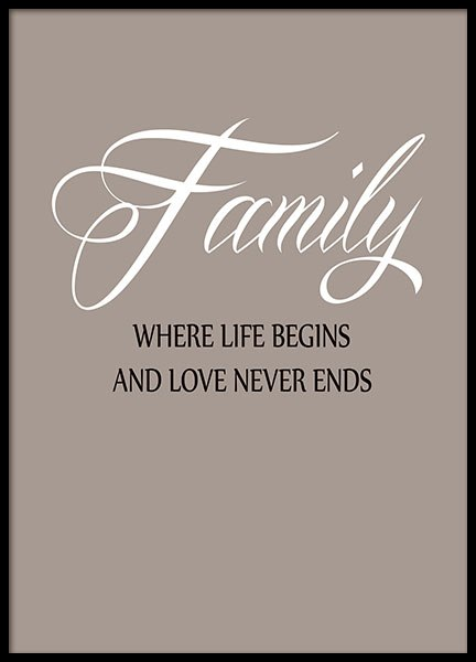 Family typography print with citation about family, for hallway decor