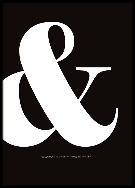 Graphic prints in black and white with ampersand and typography