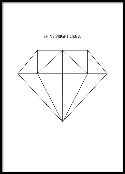 Print with a diamond for a black and white, graphic interior design. Posters onl