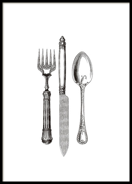 Vintage print with Victorian silverware for interior design