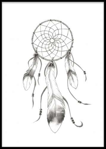Stylish black and white prints and posters of a dreamcatcher with feathers