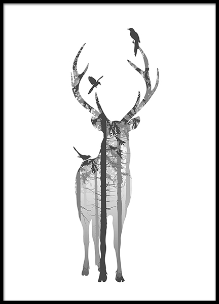 Prints and posters with a deer in black and white, Scandinavian interior design.