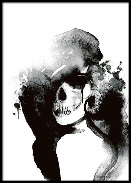 Poster with a stylish skull, watercolour art prints