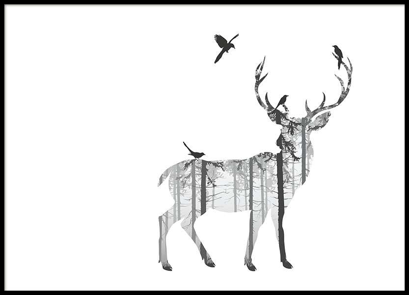 Poster with a silhouette of a deer, fits Nordic interior design