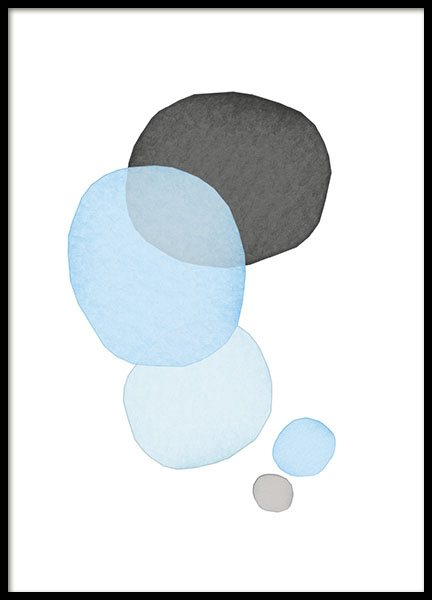 Poster with circles in pastel, stylish interior design details