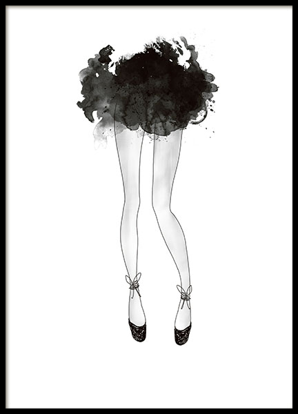 Print with a ballerina, black and white illustrations. Prints and posters online
