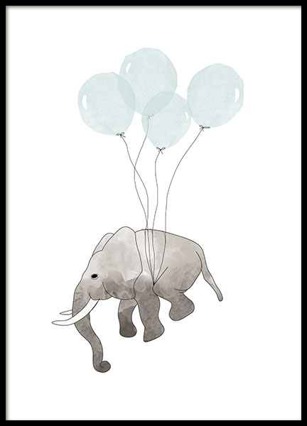 Print for a kids room with a flying elephant. Cute prints for kids.