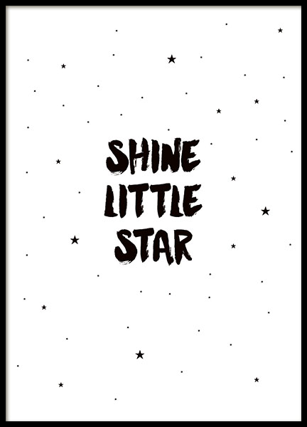Black and white poster with stars and the text shine