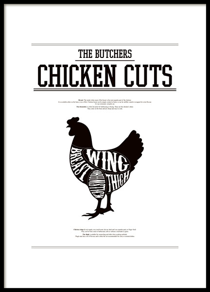 Print for the kitchen with chicken cuts, poster