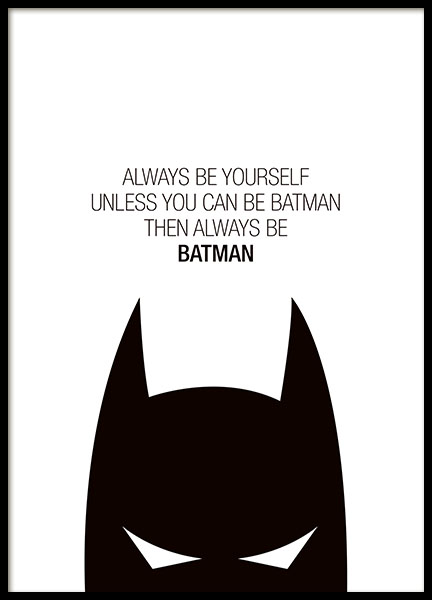 Black and white typography poster for kids with Batman and superheroes. Buy post