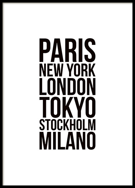 Print with fashion week cities, Paris, Milan, London and New York