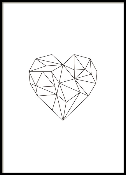Print with a black geometric heart