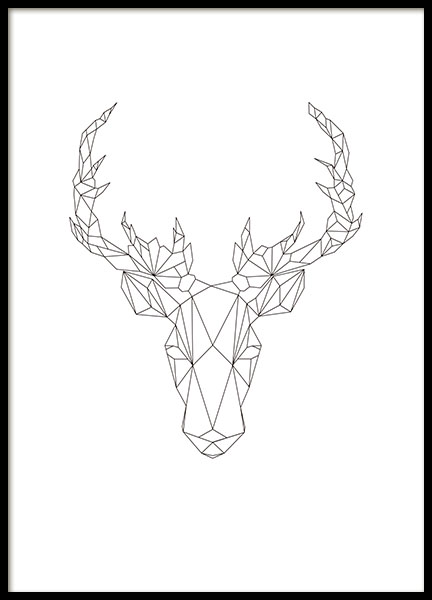Print with a geometric deer, graphic art online