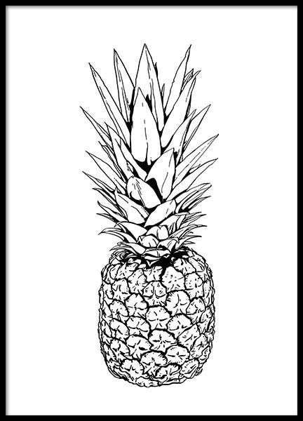 Print with a pineapple in black and white on a wall