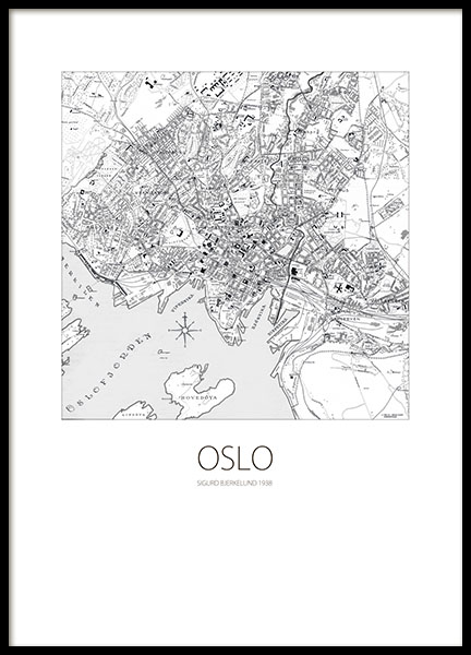 Print with an Oslo map in black and white and text Oslo