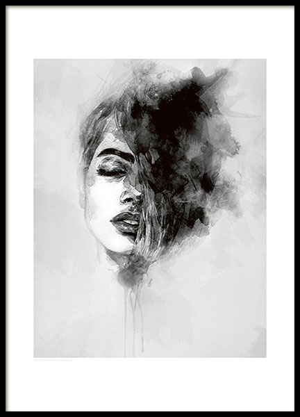 Modern aret print with woman. Black and white posters and prints online.