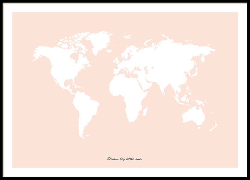 poster with world map in pink stylish prints. Black Bedroom Furniture Sets. Home Design Ideas