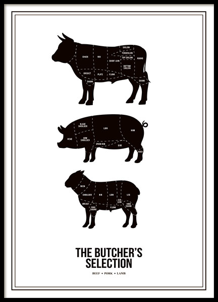 Prints and posters with butcher's cuts