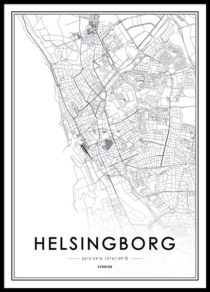 Print with Helsingborg, prints with maps of cities