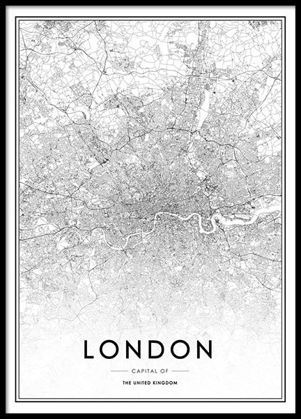 Stylish poster with map of London, prints online for picture wall