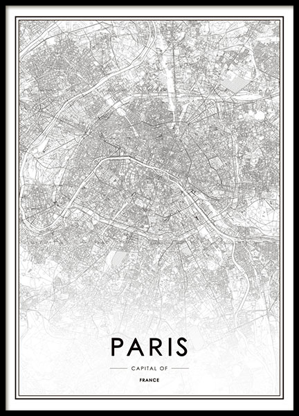 print of paris map black and white posters. Black Bedroom Furniture Sets. Home Design Ideas
