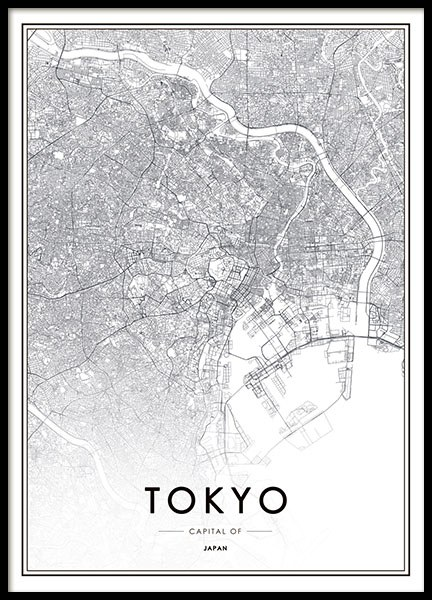 Prints with cities, print with map of Tokyo