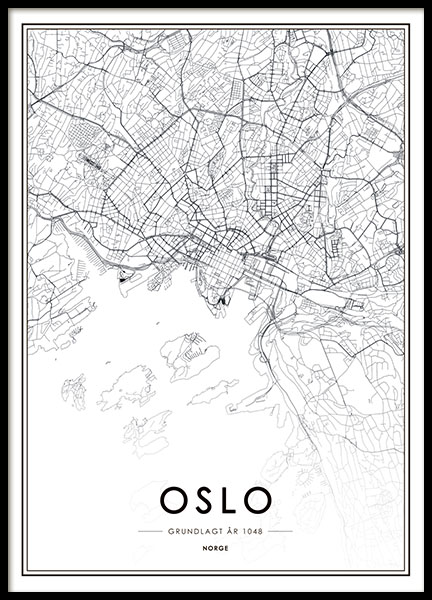 Poster with Oslo map, print with map of Oslo, black and white