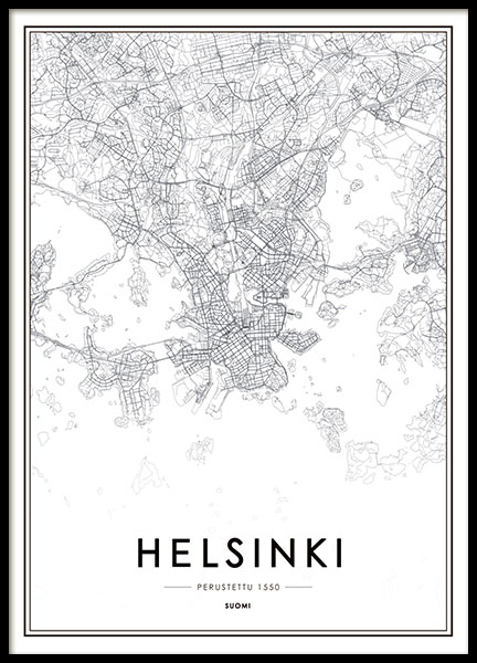 Helsinki Map, Poster in the group Posters & Prints / Maps & cities at Desenio AB (8180)